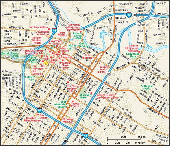 downtown Houston street map