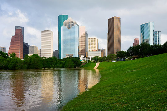 Houston Skyscrapers and Buffalo Bayou